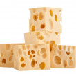 Stock Photo: Perfect pieces of swiss cheese isolated on white background