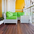 Penthouse apartment balcony with wooden decking - Stock Photo