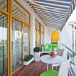 Stock Photo: Penthouse apartment balcony with wooden decking