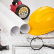 Construction drafts and tools background — Lizenzfreies Foto