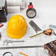 Stock fotografie: Construction drafts and tools background