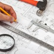 Construction drafts and tools background - Stock Photo
