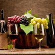 Stock Photo: Still life with wine bottles, glasses and grapes