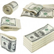 Folded hundred dollar bills isolated on white — Stock Photo