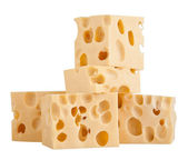 The perfect pieces of swiss cheese isolated on white background — Stock Photo