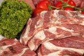 Fresh Raw Meat Background with pork edges; Beef Meat, Turkey and — Stock Photo