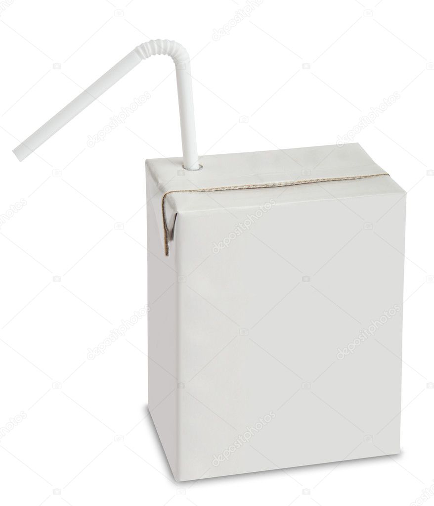 Blank drink box with straw, isolated on white background.  Foto de Stock   #7961551
