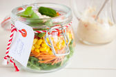 Delicious salad in a jar — Stock Photo