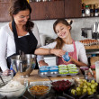 Mother and daughter baking at home - Stock Photo