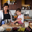 Mother and daughter baking at home — Stock Photo