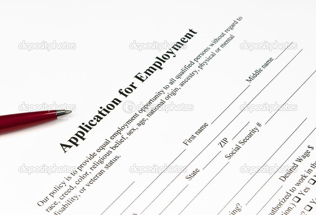 Close up image of an application for employment ready to be filled — Stock Photo #7249889
