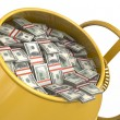 Concrete mixer full of dollars closeup — Stock Photo