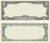 Clear 2 dollar banknote pattern for design purposes — Stock Photo