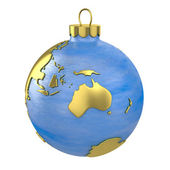 Christmas ball shaped as globe or planet, Australia part — Stock Photo