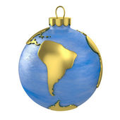 Christmas ball shaped as globe or planet, South America part — Stock Photo