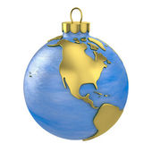 Christmas ball shaped as globe or planet,North America part — Stock Photo