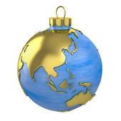 Christmas ball shaped as globe or planet, Asia part — Stock Photo