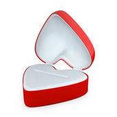 Red heart shaped box for jewelry — Stock Photo