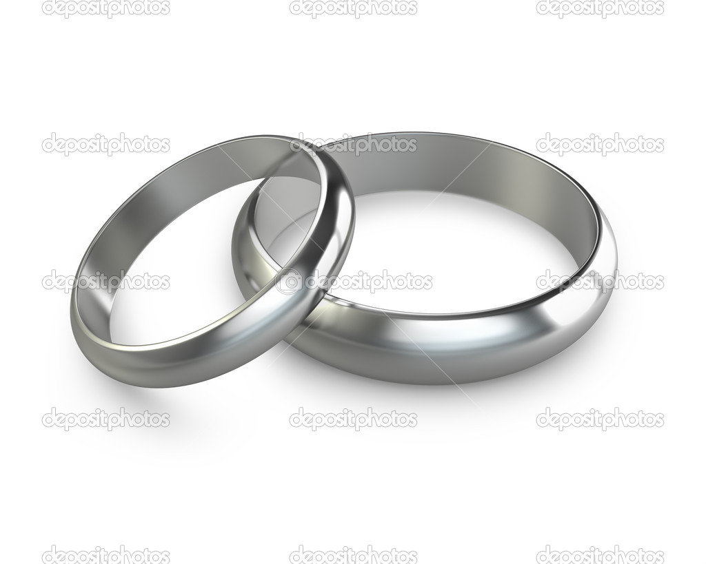 Two platinum wedding rings isolated on white background — Stock Photo #7350766