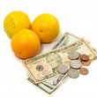 Stock Photo: Orange fruit with money