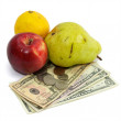 Stock Photo: Cost of food fruit and money on white