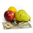 Stock Photo: Cost of food fruit and money