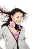 Beautiful asian woman with headphones — Stock Photo