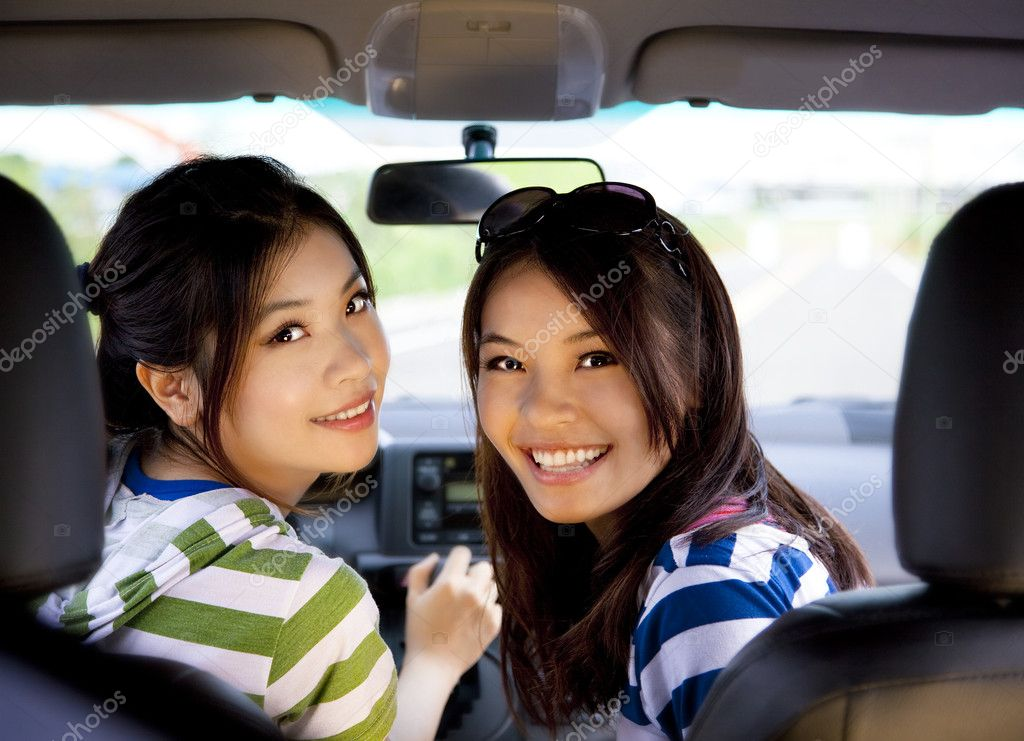 Happy girls in the car and enjoy driving  Stock Photo #7230090