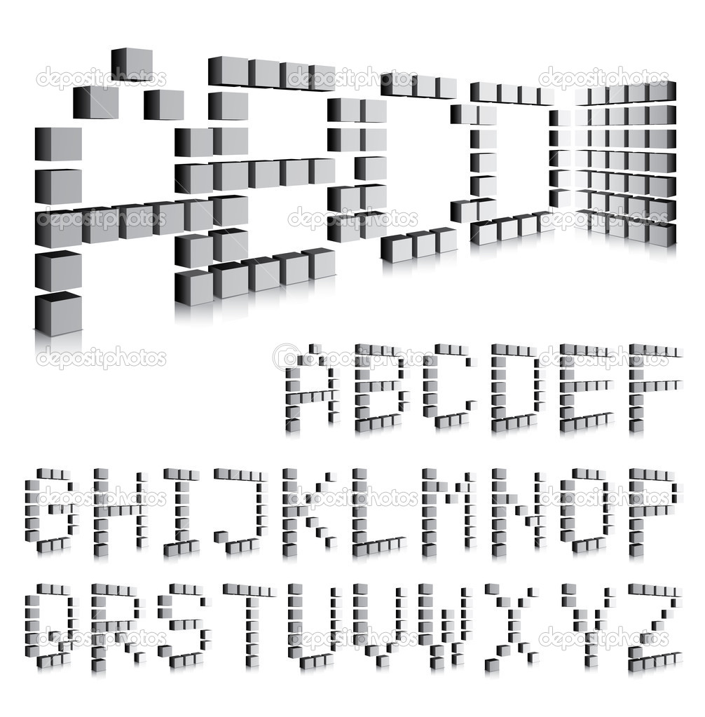 3d cube font large letters and numbers stock vector for Large 3d numbers