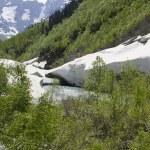 Avalanche bridge across mountain river — Stock Photo