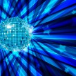 Disco Ball vector background with rays and stars / eps10 — Imagens vectoriais em stock