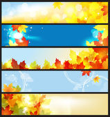 Vector Banners Set / Beautiful Autumn Day — Stock Vector