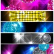 Disco and Nightclub/  set of 5 banners / vector eps10 — Vettoriali Stock