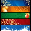 Set of five Christmas  banners / vector / colourful backgrounds — Stock Vector