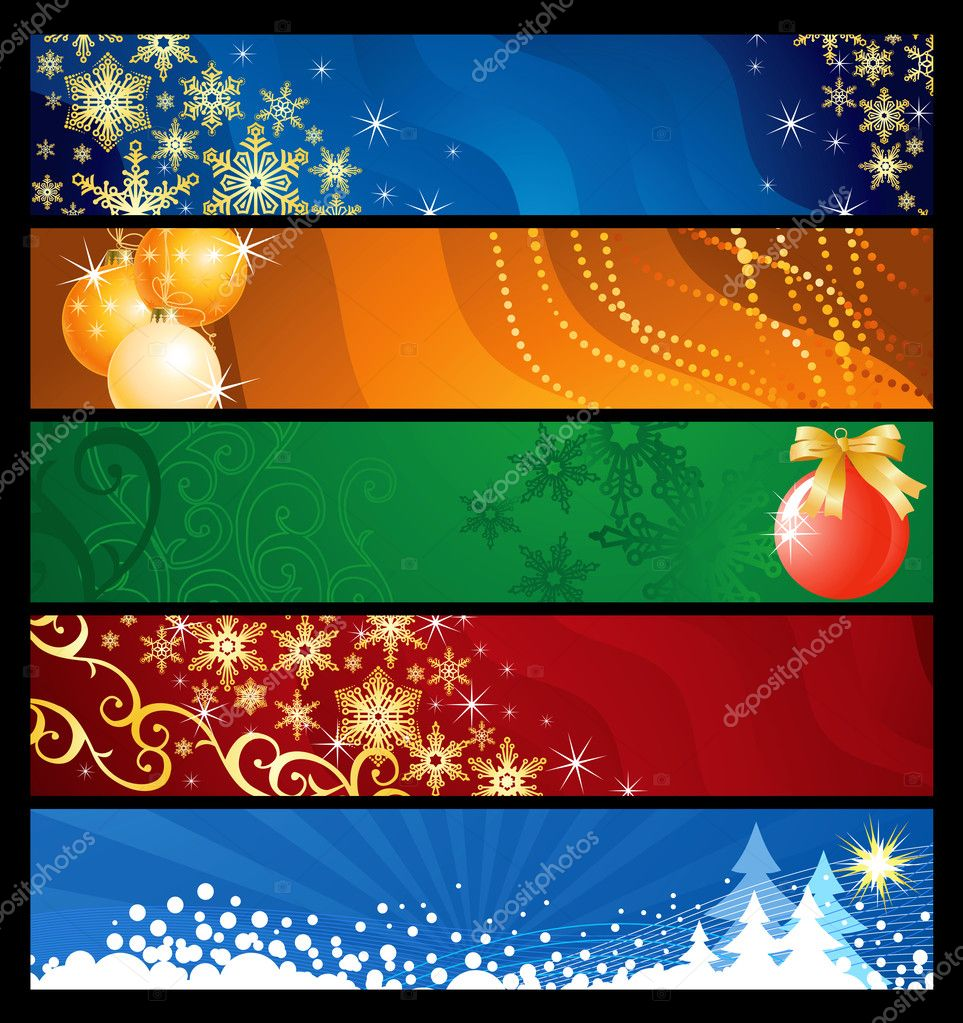 Set of five Christmas  banners / vector / colourful backgrounds — Stock Vector #7143891