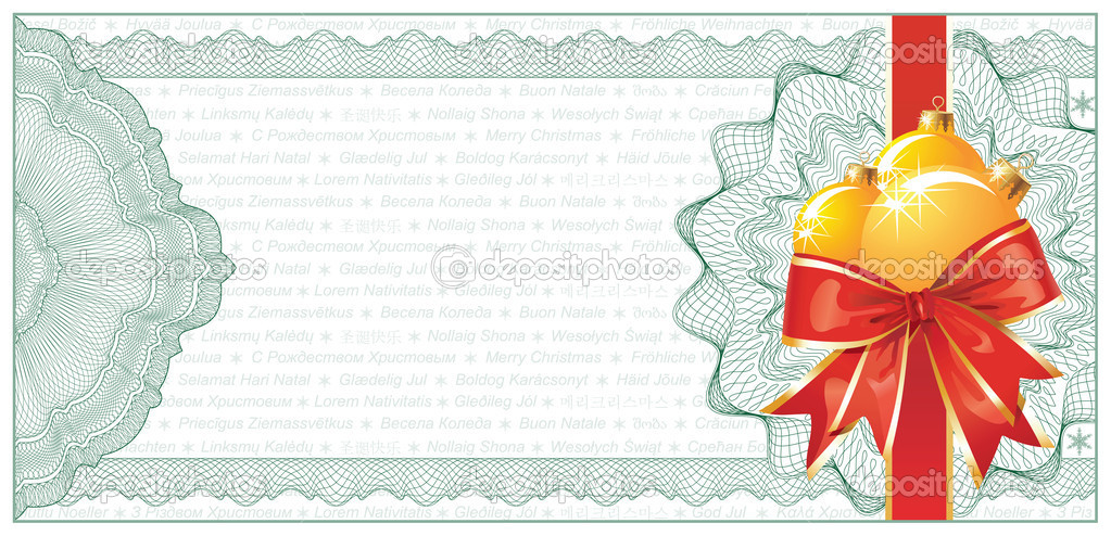 golden christmas gift certificate or discount coupon template