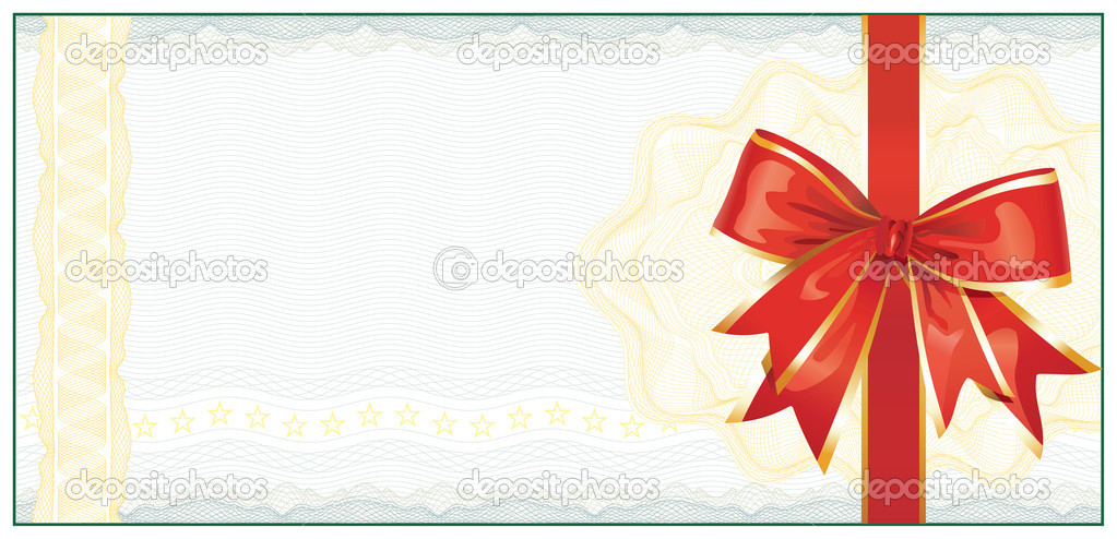 Golden Gift Certificate or Discount Coupon template / with red bow / vector — Stock Vector #7273122