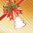 Christmas Background with Gift Tag,  Red Bow and beautiful Holly — Stok Vektör