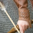 Bow and arrow/ medieval armor — Stock Photo