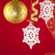 Christmas background with decorations and bow /  with copy space — Stock Photo