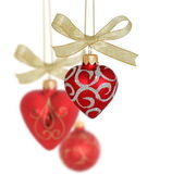 Christmas Decoration / Red hearts and ball — Photo
