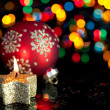 Christmas decoration on defocused lights background — Stock Photo #7595687