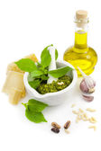Fresh Italian Pesto and its ingredients / isolated on white — Stock Photo
