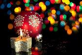 Christmas decoration on defocused lights background — Stock Photo