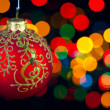 Christmas decoration on defocused lights background - Stock Photo