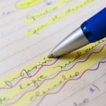 Ballpoint pen and writing — Stock Photo