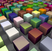 3d render of beveled cubes in multiple bright colors — Stock Photo