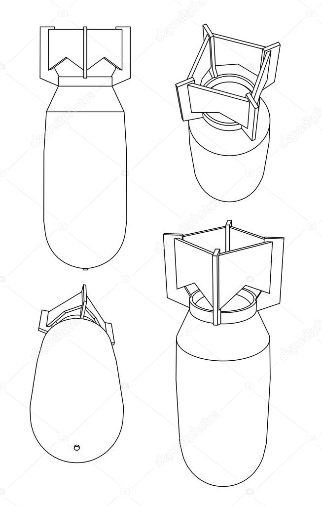 Linear black and white illustration of bomb on white  — Foto Stock #6886951