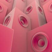 Soft pink 3d render of grouped sound-system deejay dj set — Stock Photo