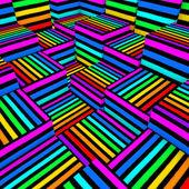 抽象构成 3d 彩色的喷涂线纹理中的多维数据集 — 图库照片